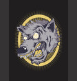 angry wolf face hand drawing vector image vector image