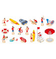 beach lifeguards isometric icons vector image vector image