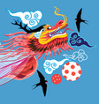 beautiful bright chinese dragon and clouds vector image