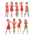 beautiful girls wearing red santa claus costumes vector image vector image