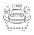 birthday cake and cupcakes black and white vector image vector image