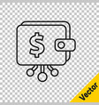 black line cryptocurrency wallet icon isolated on vector image vector image