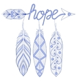 Blue Bohemian Arrow Hope Amulet with henna vector image vector image