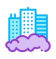 building skyscraper and smog thin line icon vector image vector image