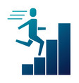 businessman run up ladder diagram bars success vector image