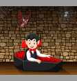 cartoon happy vampire in his coffin vector image vector image