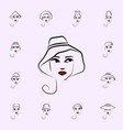 casual hat girl icon hat girl icons universal set vector image vector image