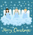 chorus angels on a cloud stars and snowflakes vector image