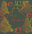 christmas greeting card with fir trees lettering vector image