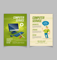computer repair service cartoon ad flayer vector image vector image