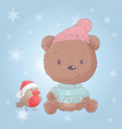 cute cartoon christmas bear with bullfinch vector image vector image