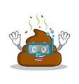 diving poop emoticon character cartoon vector image vector image