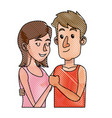 drawing embracing couple relationship together vector image