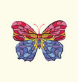 embroidery pattern with butterfly vector image vector image