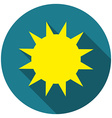 Flat design Sun icon with long shadow isolated vector image vector image