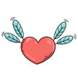 flying heart with feathers in doodle style vector image vector image
