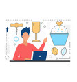 food cooking man character with laptop dessert vector image vector image