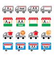food truck stand trailer deliver vector image