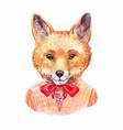 fox hipster hand-drawn animals potrait vector image