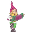 Gnome with accordion vector image