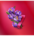 greeting card with blue crocuses red ribbon vector image