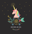 greeting card with unicorn vector image vector image