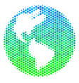halftone blue-green earth icon vector image