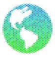 halftone blue-green earth icon vector image