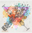 hand drawing of champagne bottle and glass vector image