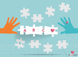 Hand with paper cut of puzzle vector image
