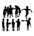 happy fun student activity silhouettes vector image