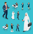 isometric business man and woman with phone young vector image vector image