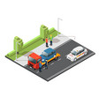 isometric car evacuating service composition vector image vector image