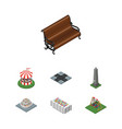 isometric city set of sitting seesaw carousel vector image vector image