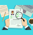 job interview concept businessman cv resume work vector image