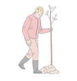 man planting tree in garden isolated character vector image