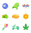 migration icons set cartoon style vector image vector image