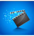 Movie clapper board on blue background vector image vector image
