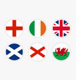 national flags united kingdom set on white vector image