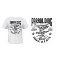 paragliding club t-shirt print with eagle vector image vector image