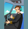 pilot of an airplane vector image