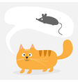 red cat bubble talk mouse vector image vector image