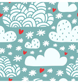 Seamless pattern with clouds and falling vector image
