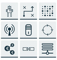 set of 9 robotics icons includes radio waves vector image vector image