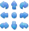 Set of blue doodle ornate arrows vector image