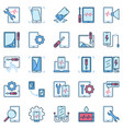 smartphone and tablet repair blue creative vector image
