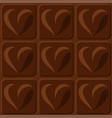 stylized sweet chocolate squares with heart shapes vector image vector image