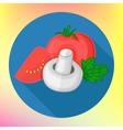 Tomatoes champignon flat icon vector image