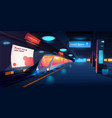 train in metro station at night time platform vector image vector image