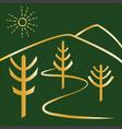 trees golden logo vector image vector image